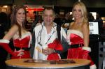 Steven Arsenault poses with the Racing Junk girls.