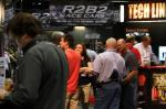 A crowd gathers at the R2B2 display.